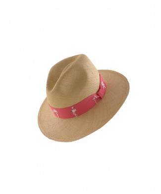 gviteri, hat, panamahat, embroidery, flamingo