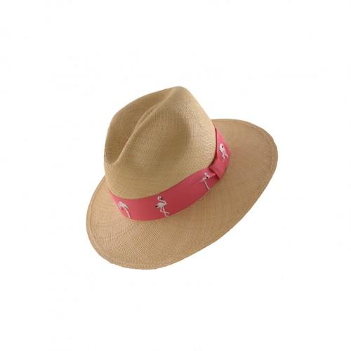 gviteri, hat, panamahat, embroidery, flamingo